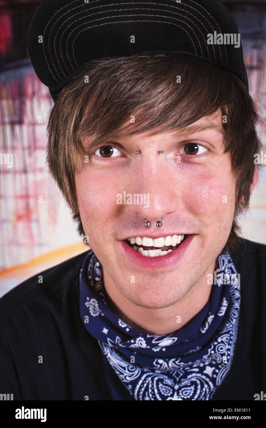 Cheerful Man with Nose Ring Stock Photo, Royalty Free Image ...