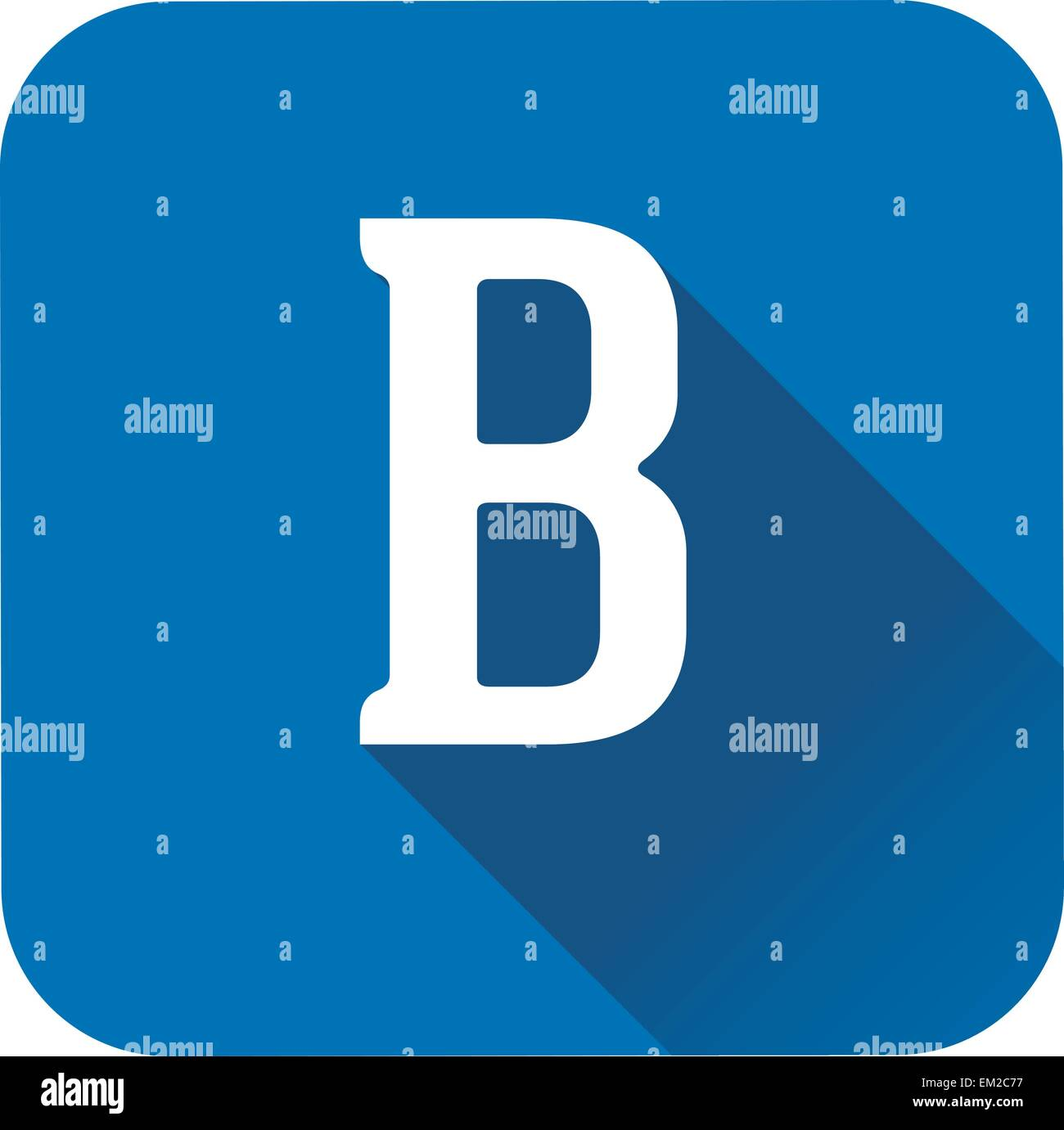 letter b alphabet long shadow flat icon eps 10 vector stock