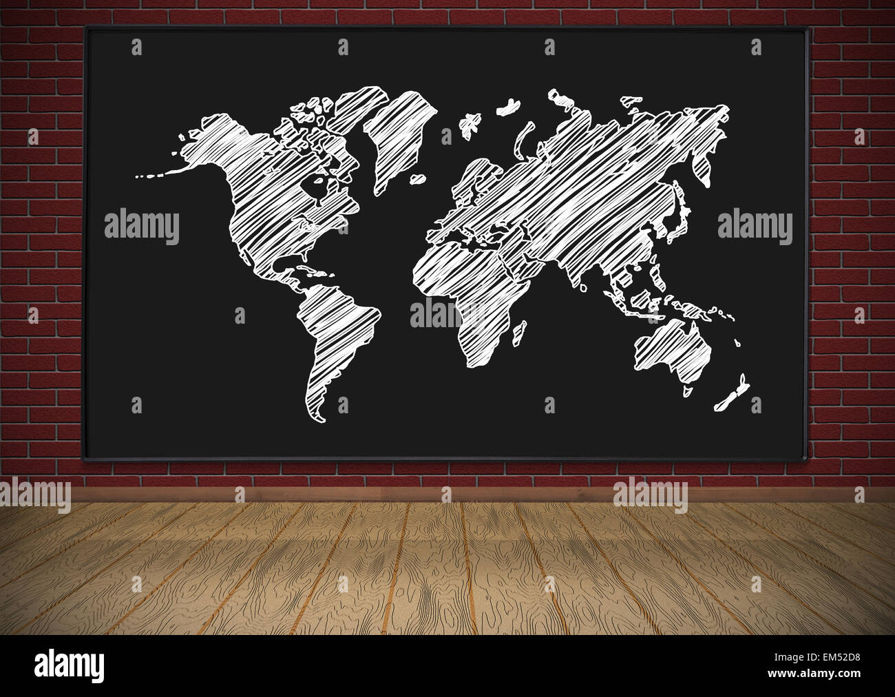 Blackboard with drawing world map hanging on red brick wall stock blackboard with drawing world map hanging on red brick wall gumiabroncs Choice Image