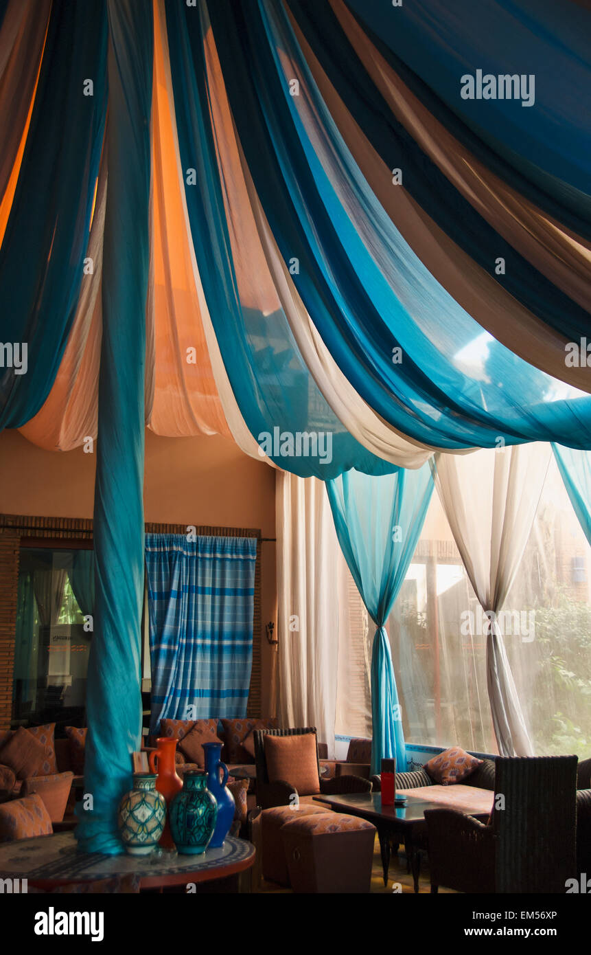 Moroccan curtains fabrics - Morocco Marrakech Blue And White Draped Fabric In Room