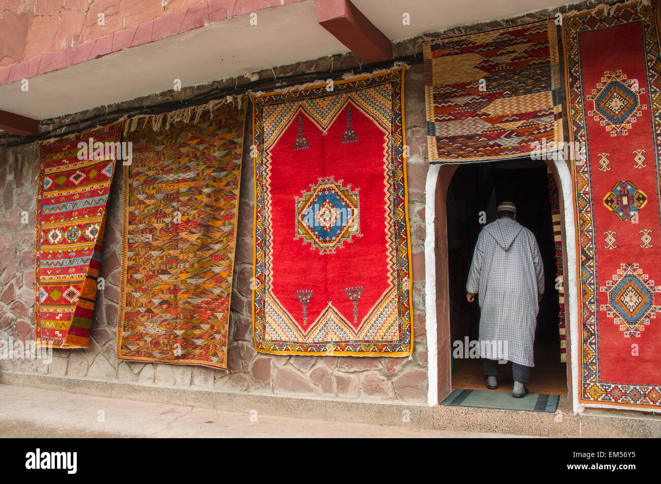 Hanging Rugs Colorful Rugs Hanging On Display Outside Shop Morocco Stock Photo