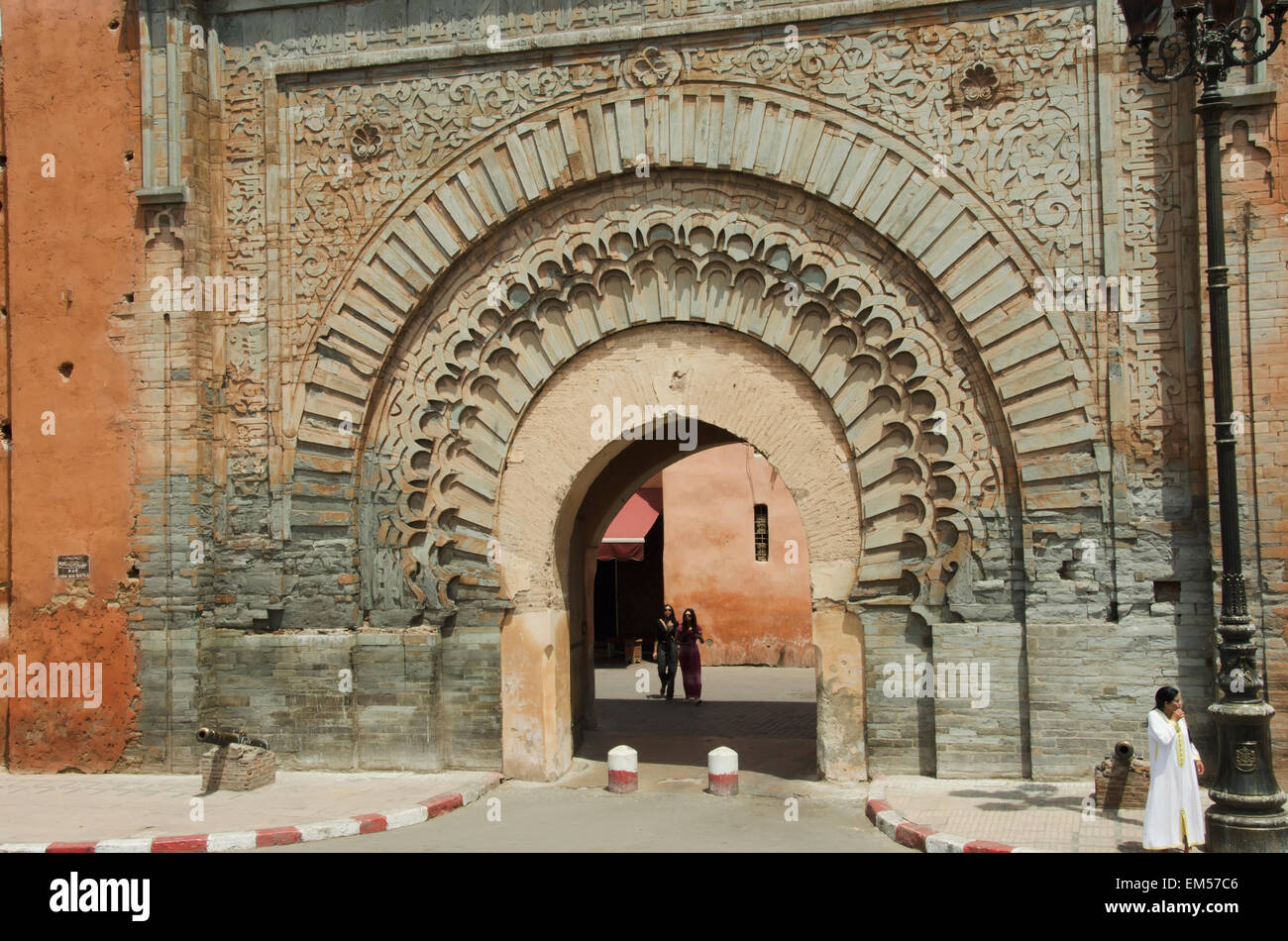 Morocco, Marrakech, Medina, Pedestrians and ornate archway in ... for Moroccan Archway  70ref