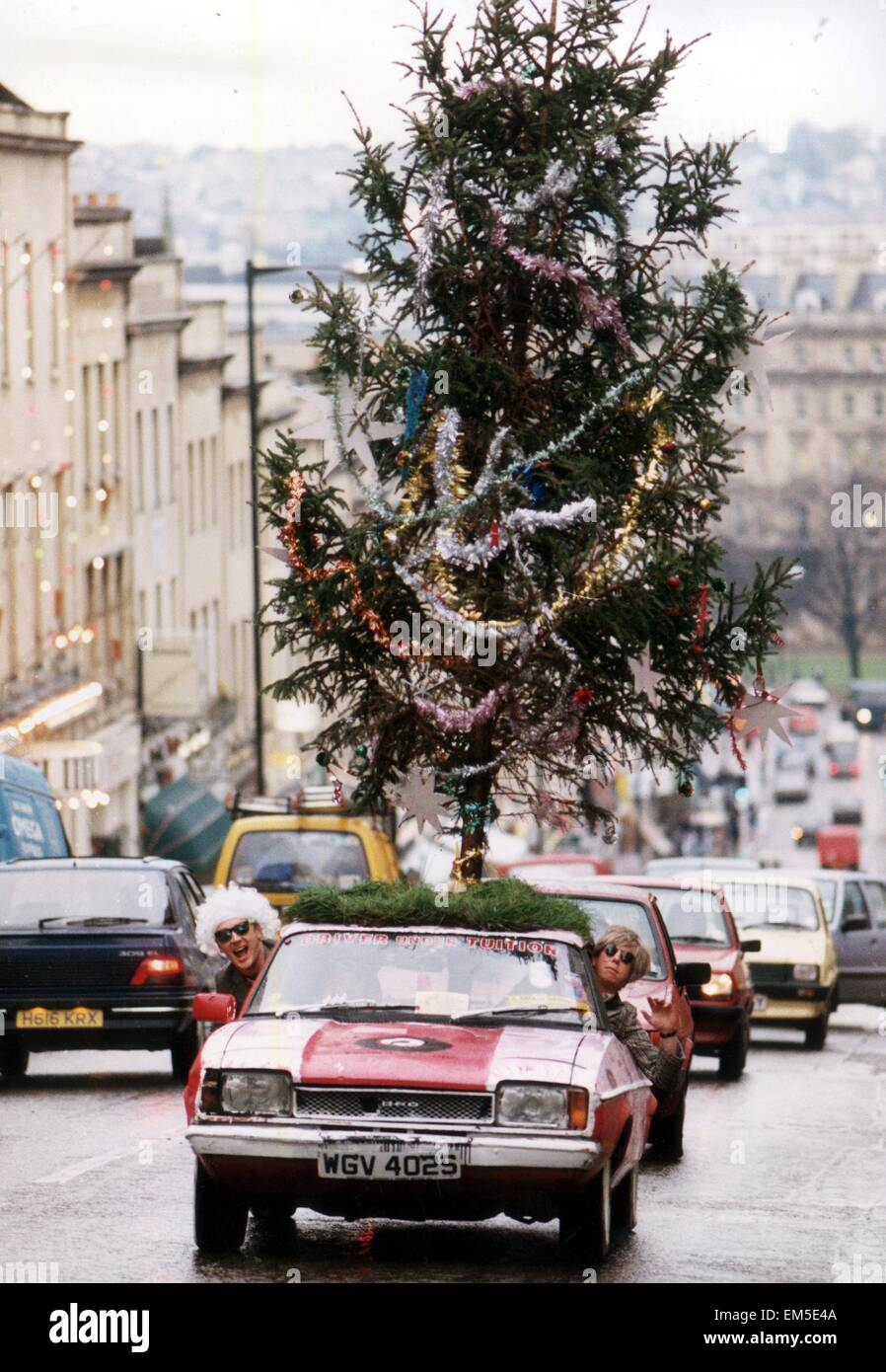 Ian Johnson Drives His Ford Capri With A Christmas Tree On The  - Christmas Tree On Car