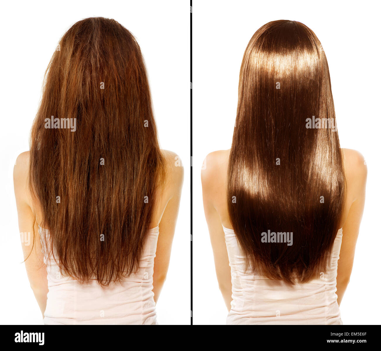 Before and After Damaged Hair Treatment Stock Photo, Royalty Free ...