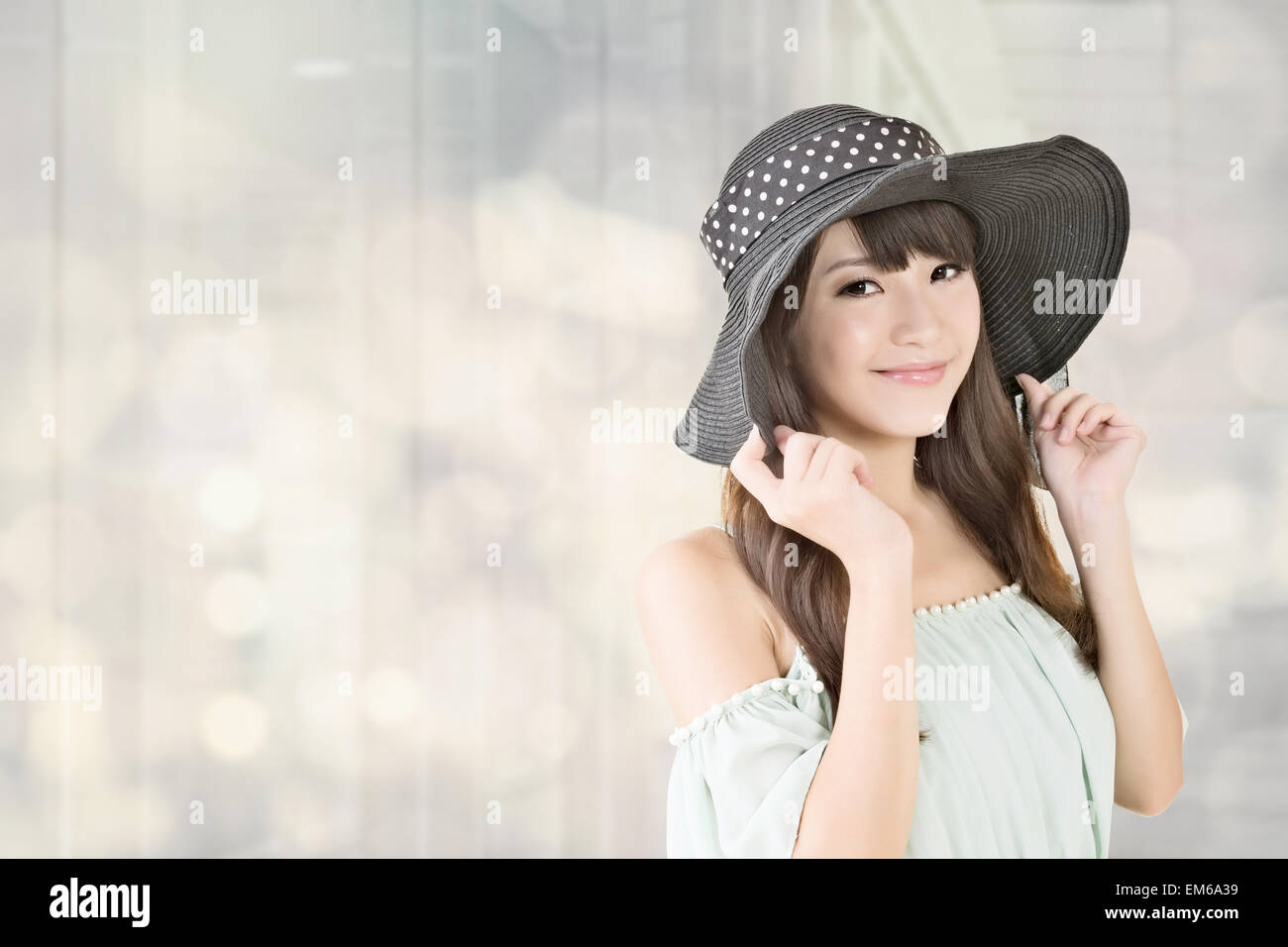 Elegant Asian Elegant Asian Woman With Hat Stock Photo Royalty Free Image