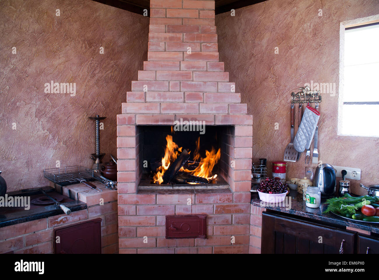 Exceptional Fireplace On A Summer Kitchen. Remarkable Construction For Rest And For  Cooking