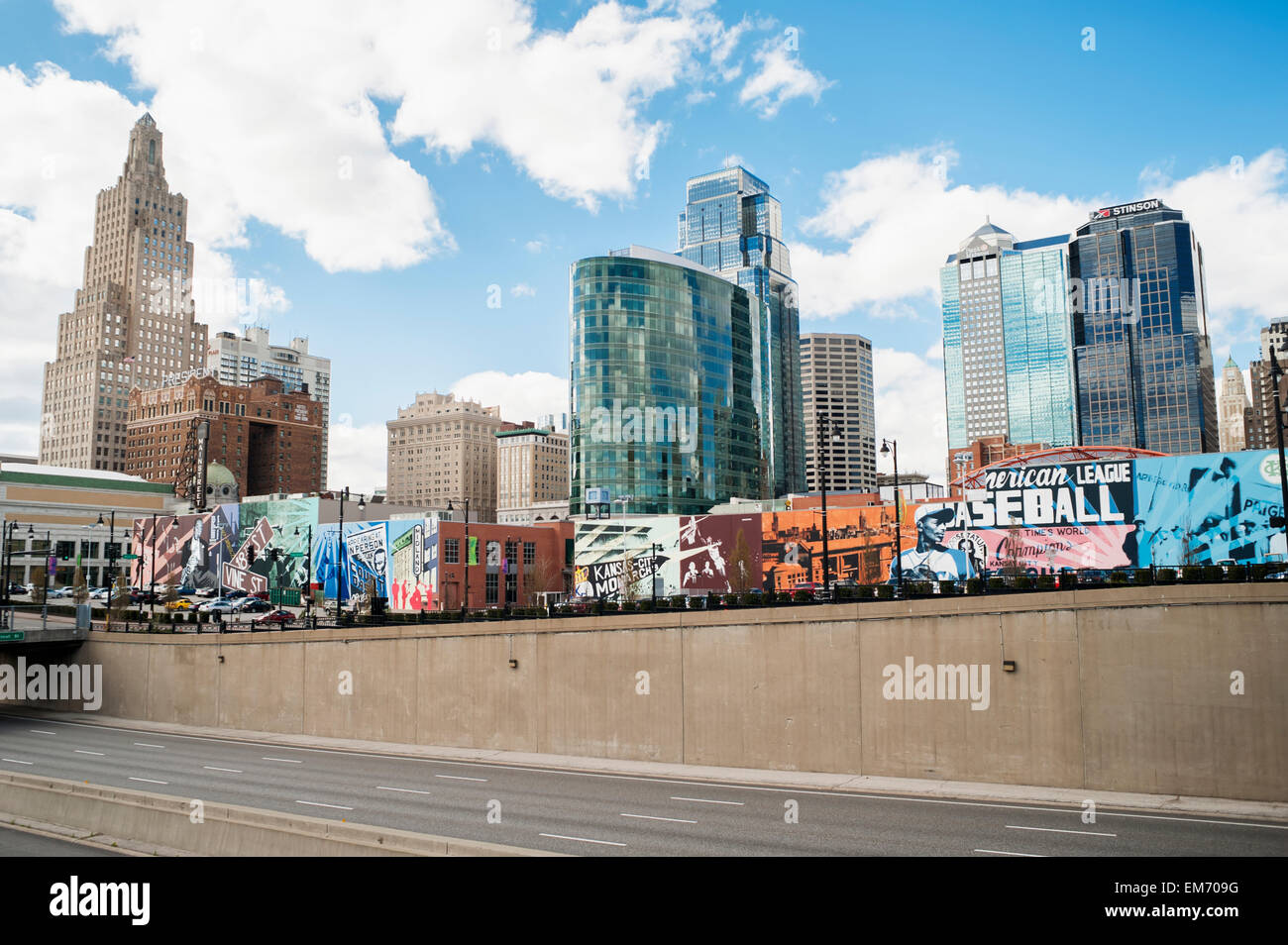 Painted murals on buildings with skyscrapers in the background stock photo royalty free image for American exteriors kc