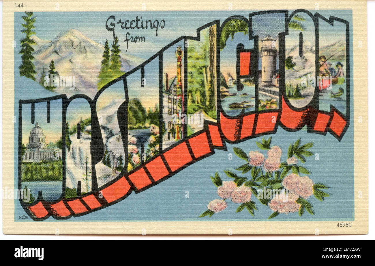 Greetings from washington stock photos greetings from washington large letter greetings from washington state name vintage postcard ca 1930s 1940s kristyandbryce Gallery