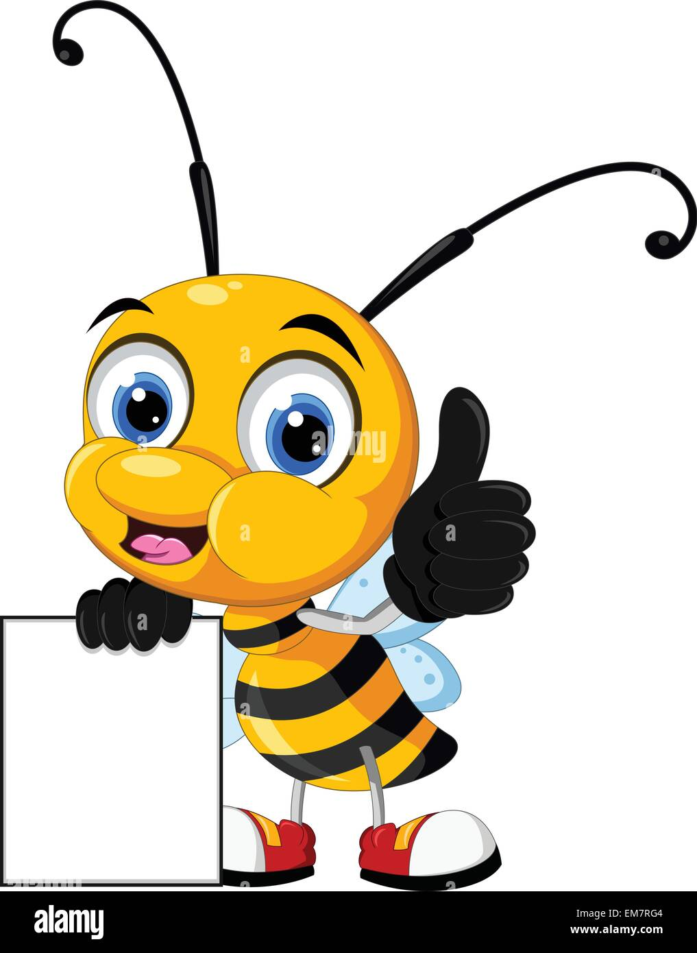 little bee cartoon holding blank board stock vector art