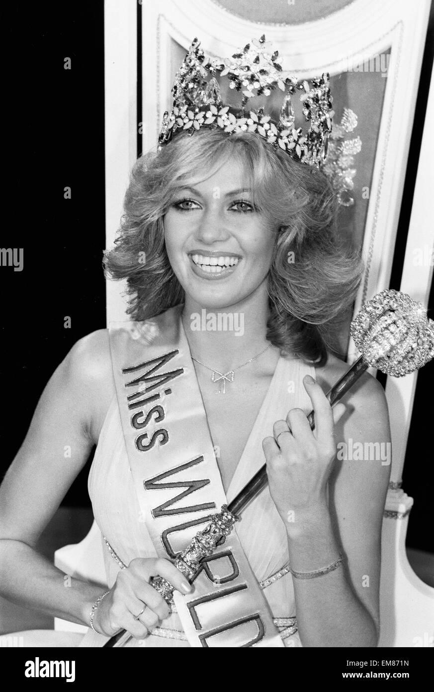 Miss World 1980. Miss Germany Gabriella Brum is crowned