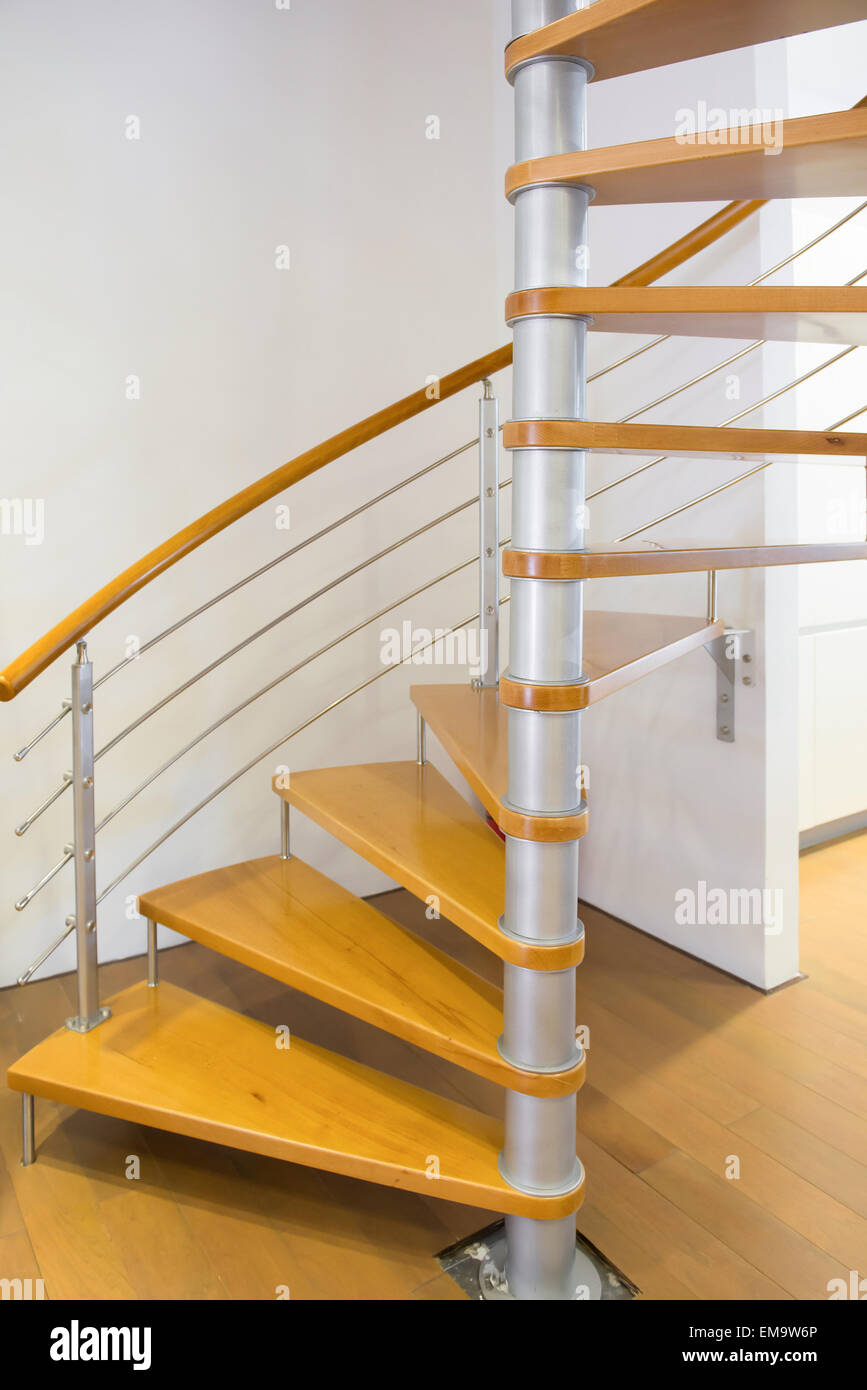 Stock Photo   Morden Spiral Stairs With Wooden Steps Inside A House