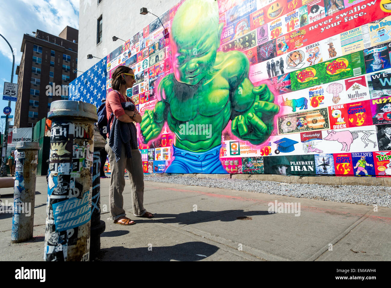New york usa 18 april 2016 bowery mural featuring for Bowery mural nyc