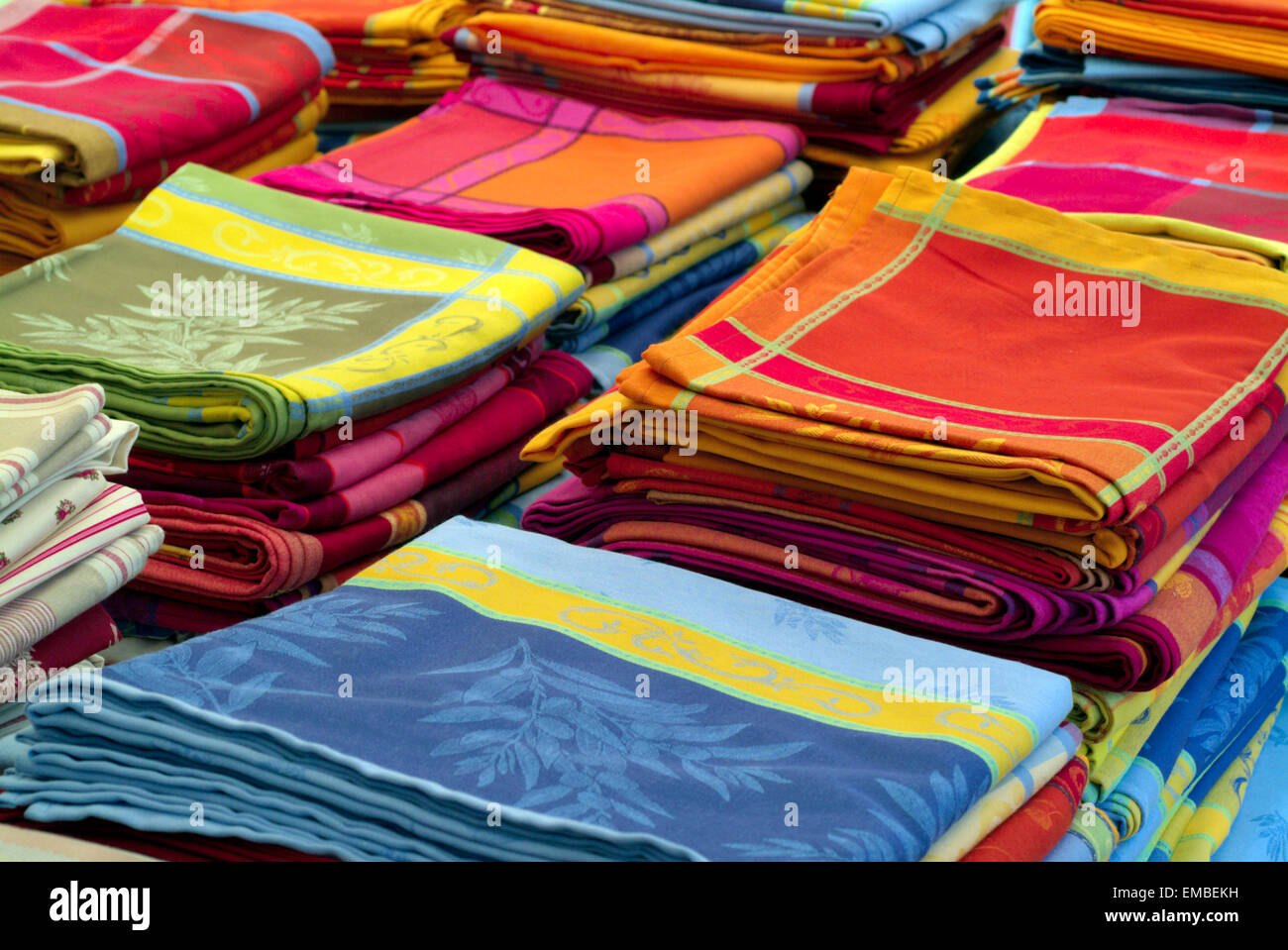 French Tablecloths On A Market, Stacked Provence France Europe