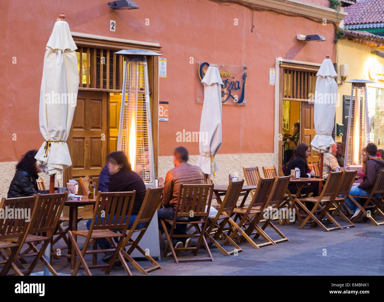 Patio Heaters Outside Street Bar At Night In San Cristobal De La Laguna,  Tenerife, Canary Islands, Spain