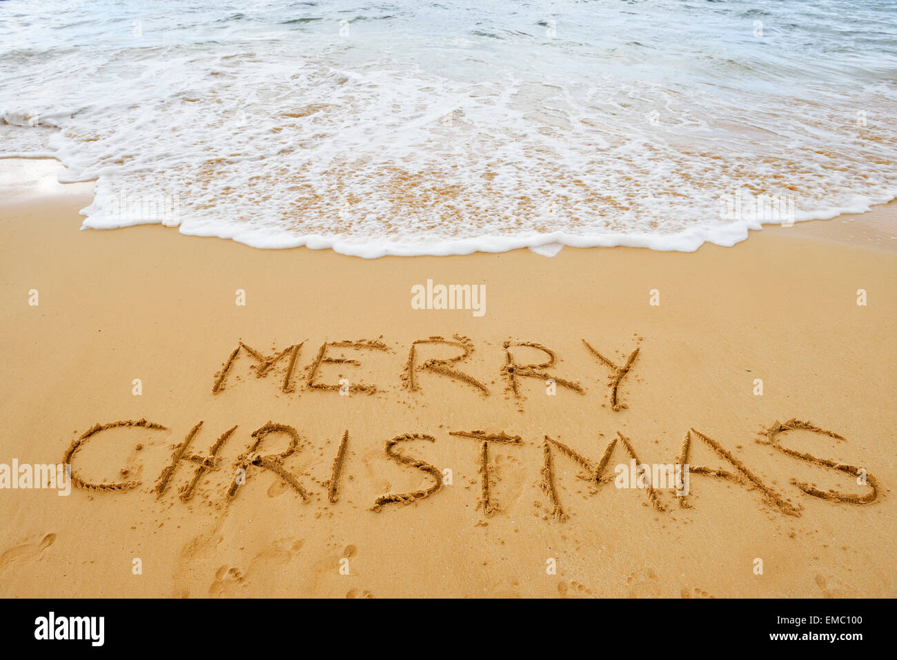 USA, Hawaii, Maui, Makena Beach State Park, merry Christmas drawn ...