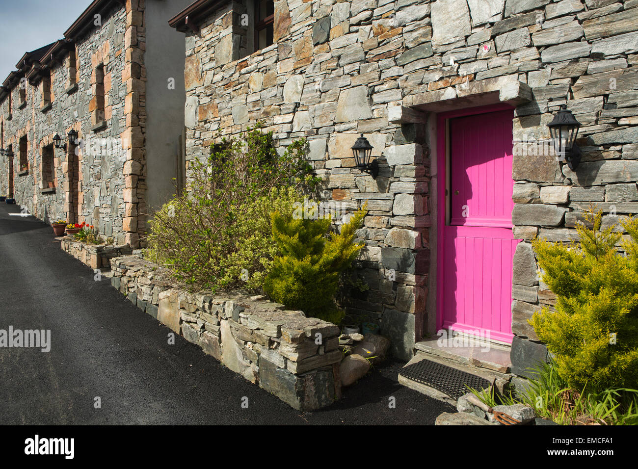 Ireland Co Galway Connemara Cleggan Harbour garish pink painted door of new houses & Ireland Co Galway Connemara Cleggan Harbour garish pink ... pezcame.com