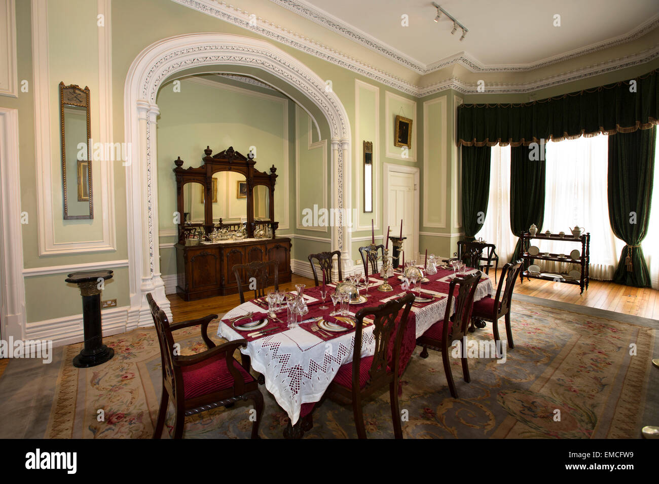 Ireland Co Galway Connemara Kylemore Abbey Dining Room With Table Laid