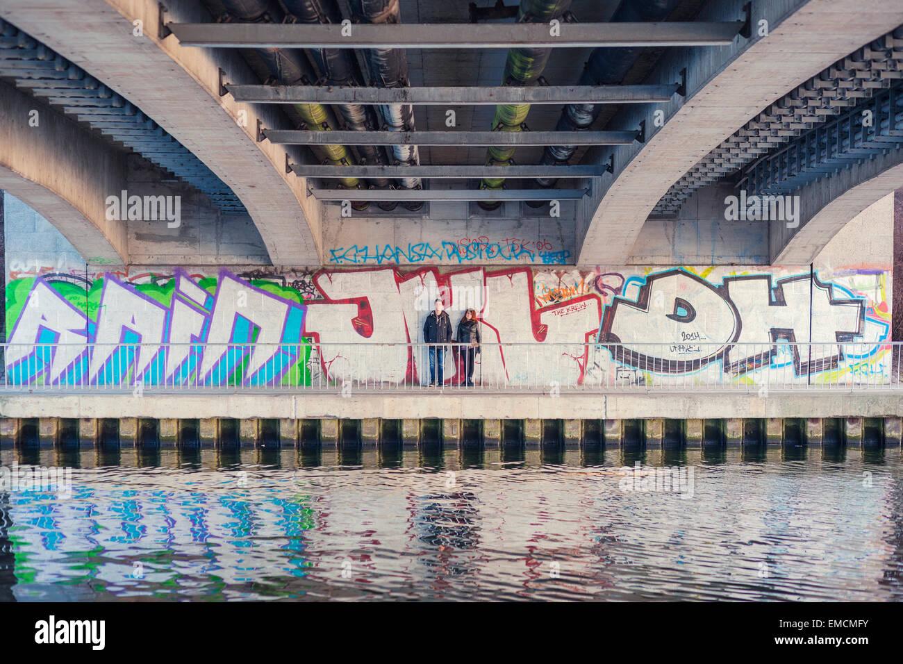 Grafiti wall berlin - Germany Berlin Teenage Couple Leaning At Graffiti Wall Under A Bridge