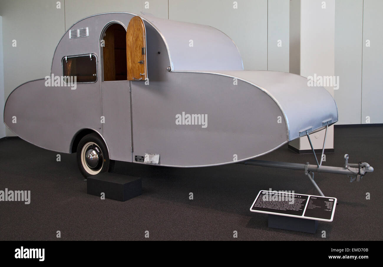 sportberger land yacht vintage caravan in the erwin hymer museum bad stock photo royalty free. Black Bedroom Furniture Sets. Home Design Ideas