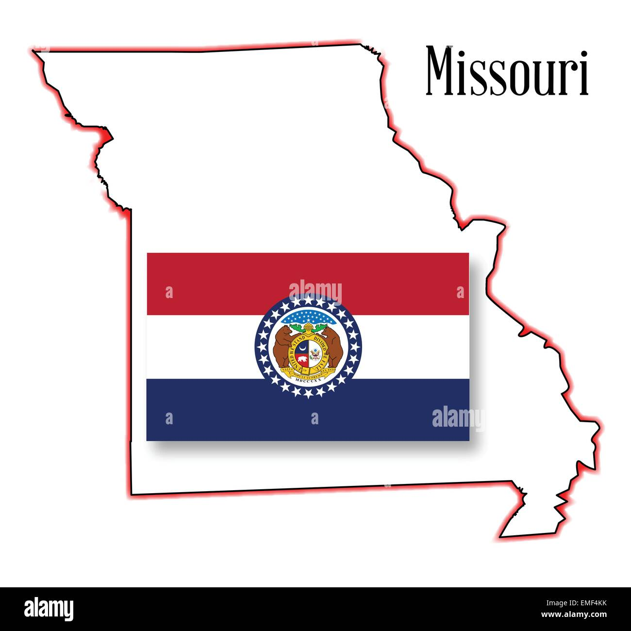 Missouri State MAp And Flag Stock Vector Art Illustration - Mo state map