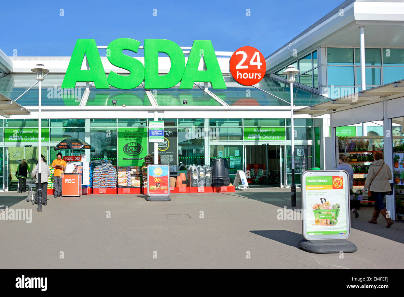 colouring books for adults asda : Asda Supermarket Store Entrance And 24 Hour Sign Stock Image