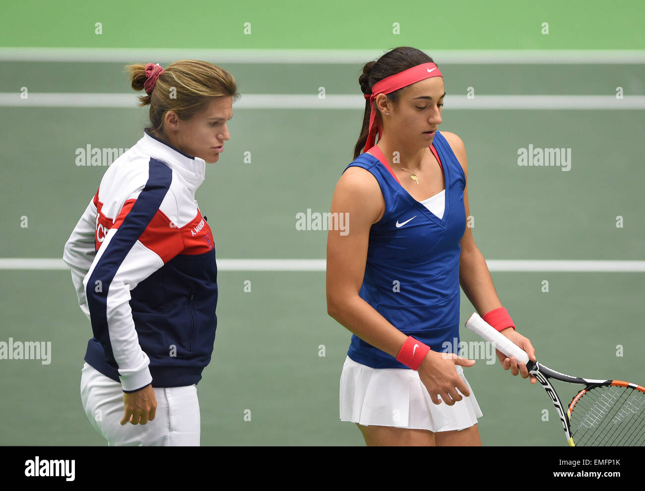 French tennis player Caroline Garcia right and captain Amelie