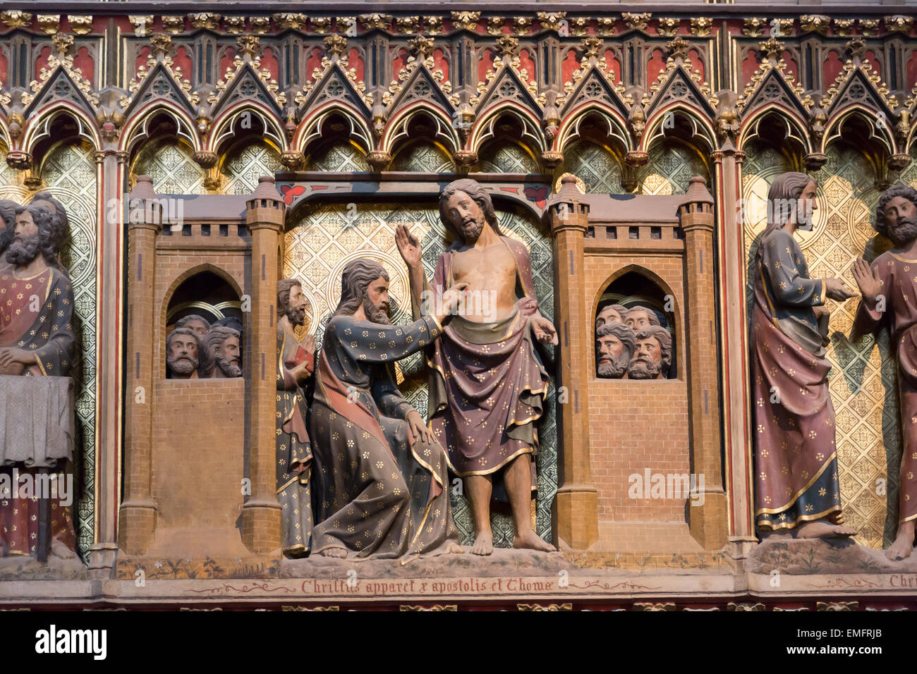 Medieval Wood Sculpture On The Chancel Screen In Notre