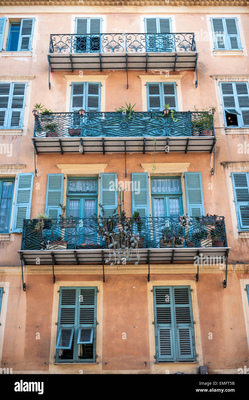 Facade Of Apartment Building With Ornate Balconies In Nice, France