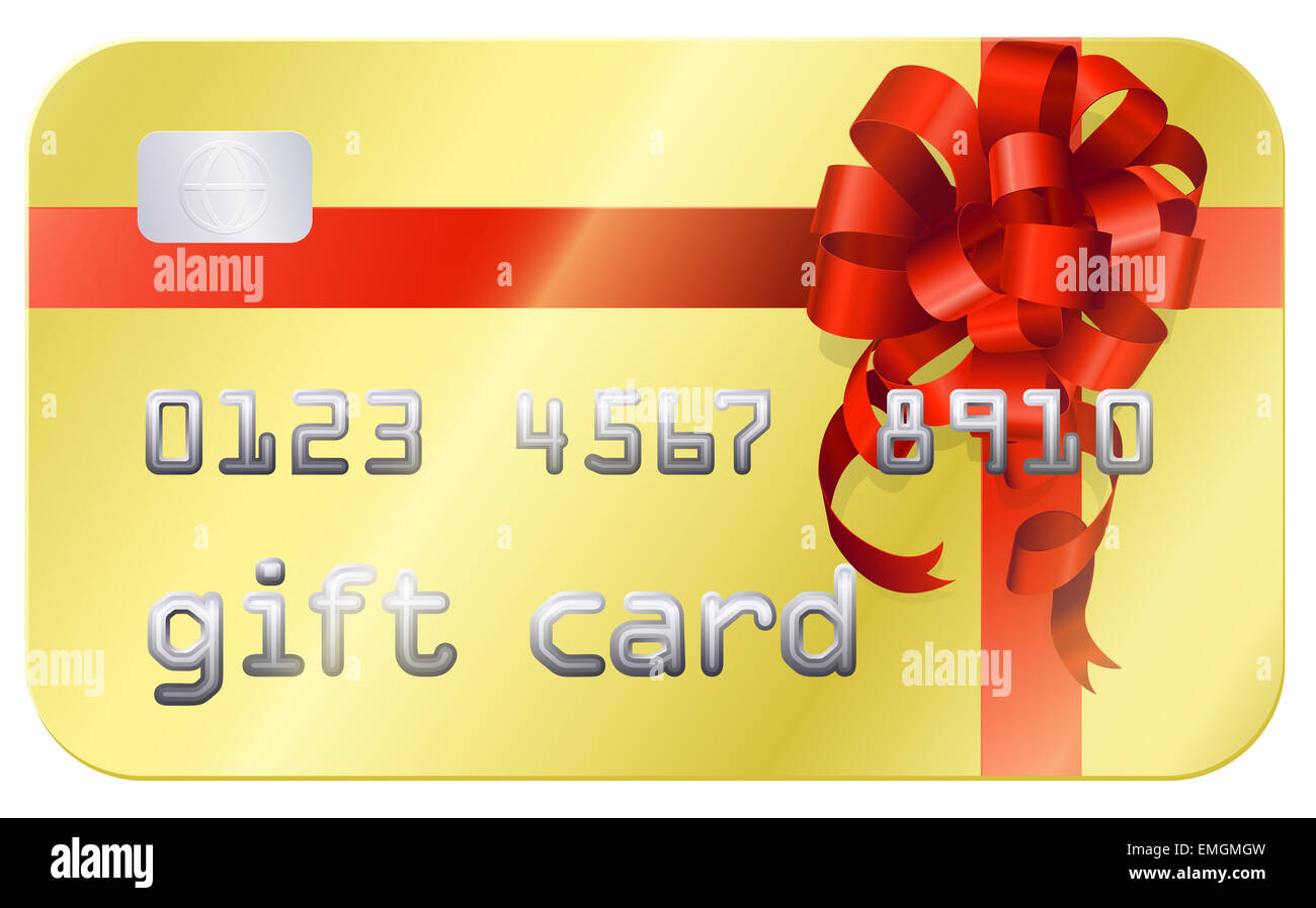 A credit card style gift card illustration with a red bow or ...
