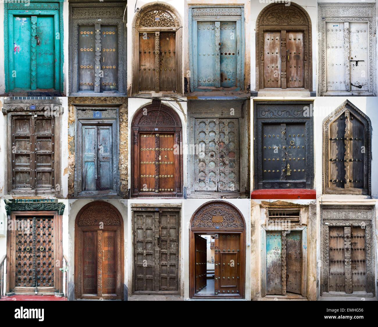 zanzibar is famous for its old wooden doors & zanzibar is famous for its old wooden doors Stock Photo: 81520466 ...