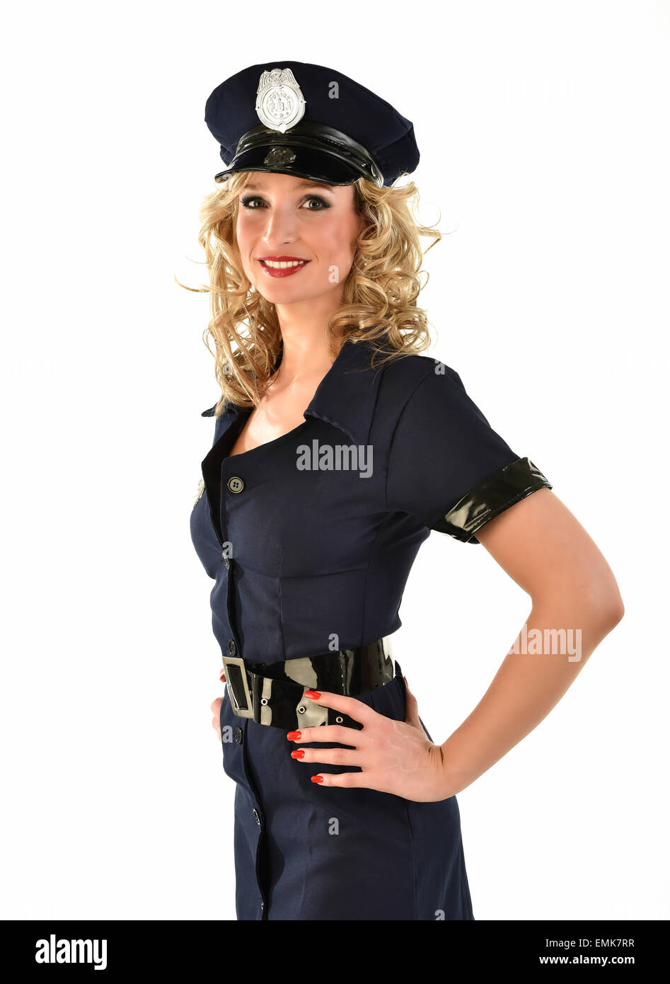 policewoman in american police uniform costume stock