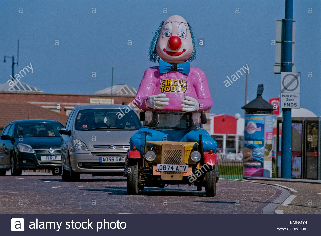 Clown Car Advertising Circus Great Yarmouth Stock Photo