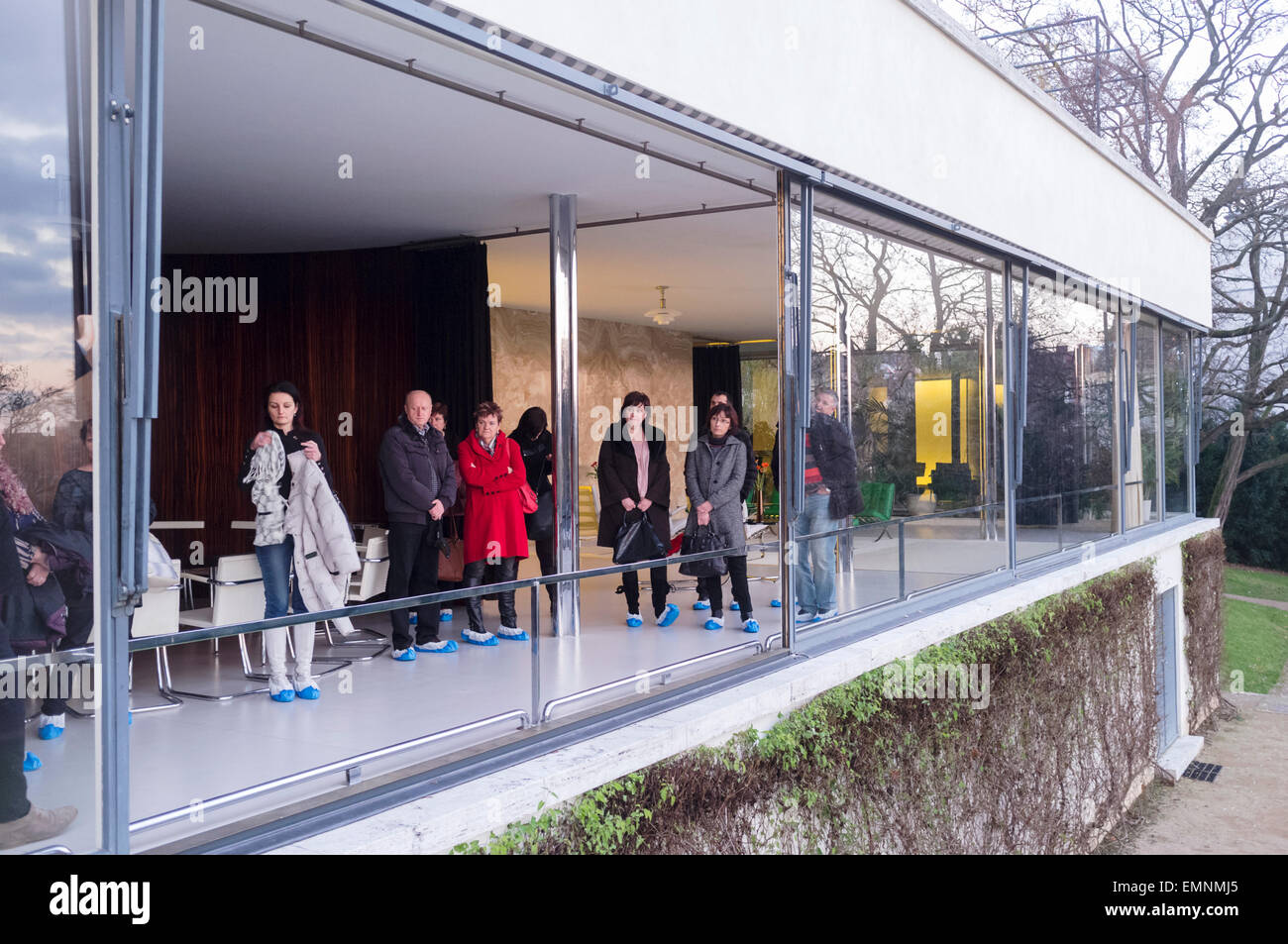 visitors at the villa tugendhat by mies van der rohe built between stock photo royalty free. Black Bedroom Furniture Sets. Home Design Ideas