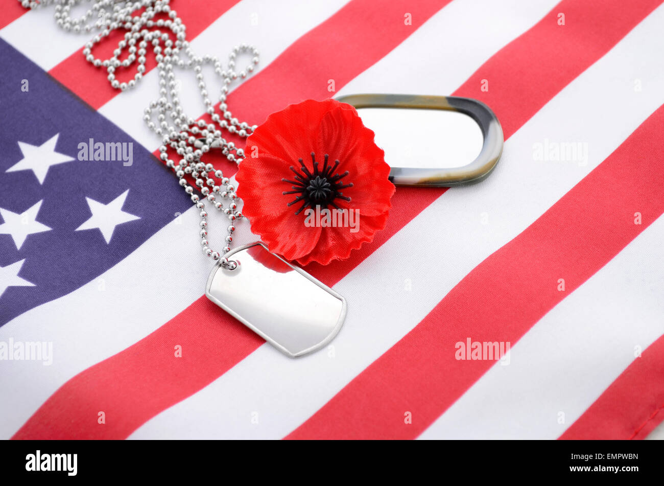 Usa memorial day concept with dog tags and red remembrance poppy usa memorial day concept with dog tags and red remembrance poppy on american stars and stripes flag publicscrutiny Image collections