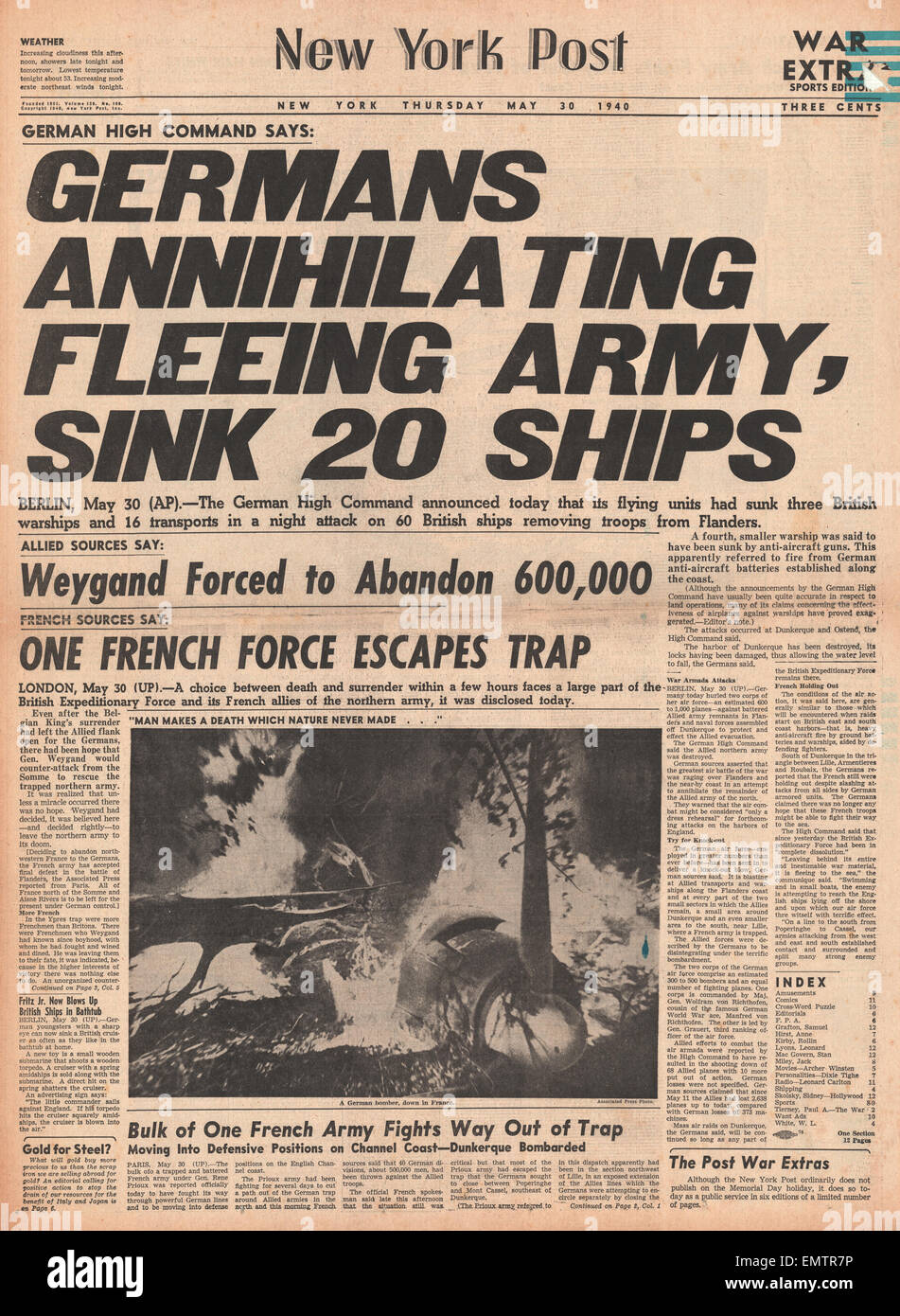1940 front page new york post german army advance in battle for
