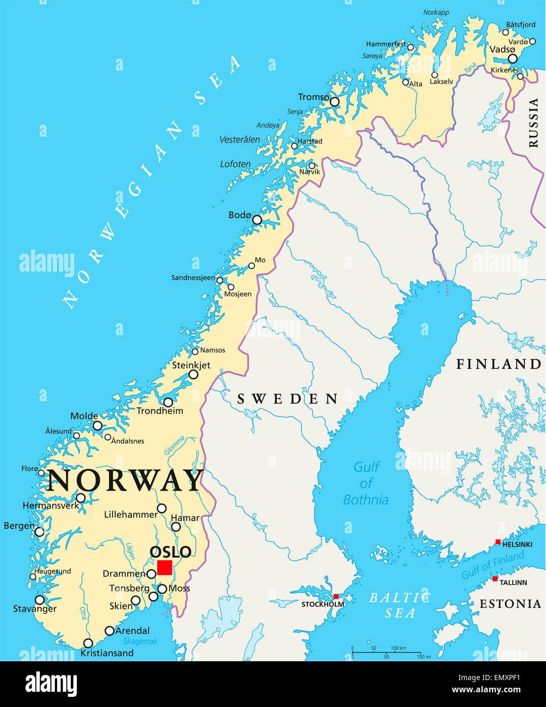 Norway Political Map With Capital Oslo National Borders - Map of cities in norway