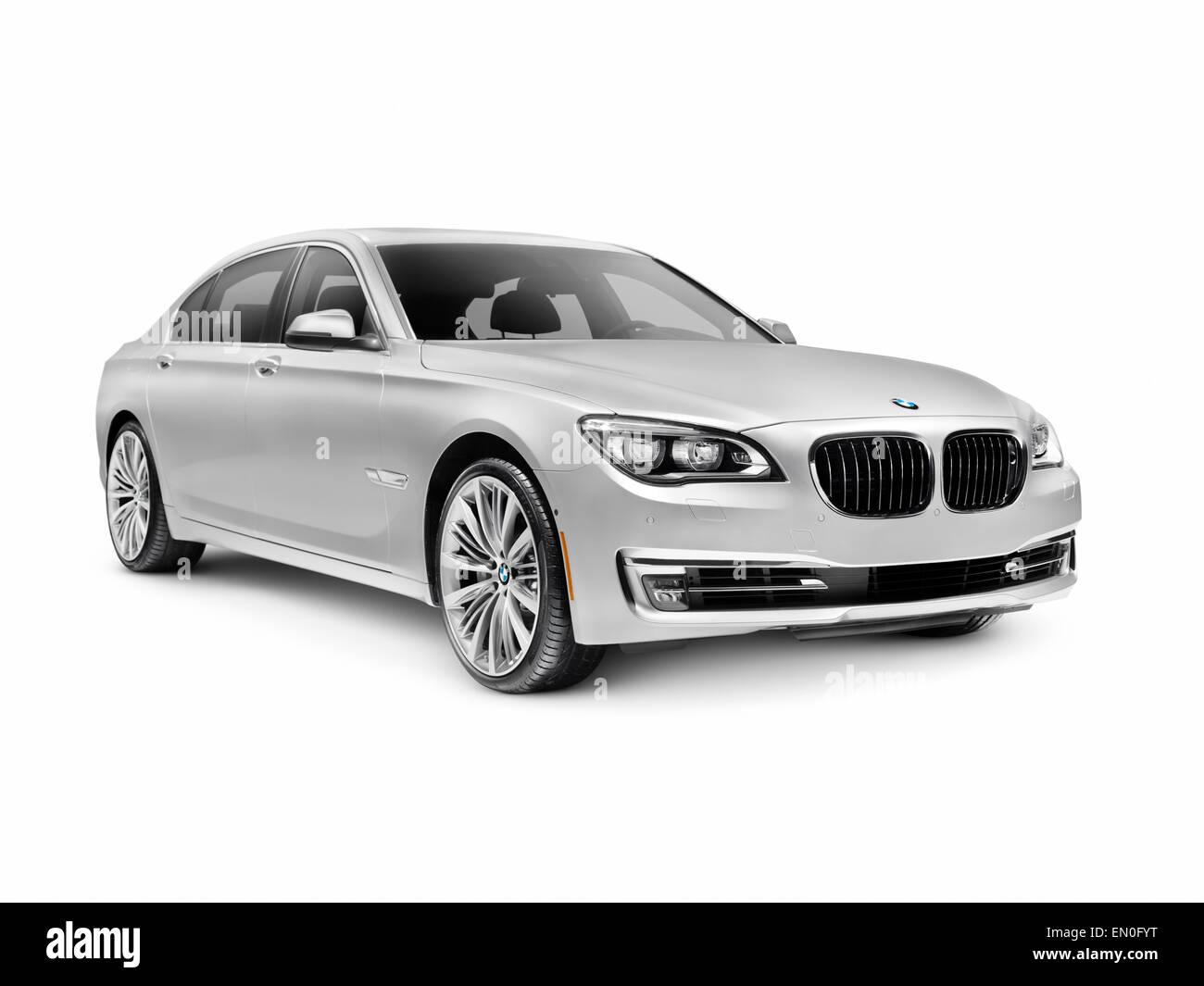 Silver 2015 BMW 7 Series 750Li Individual Luxury Car Isolated On White Background With Clipping Path