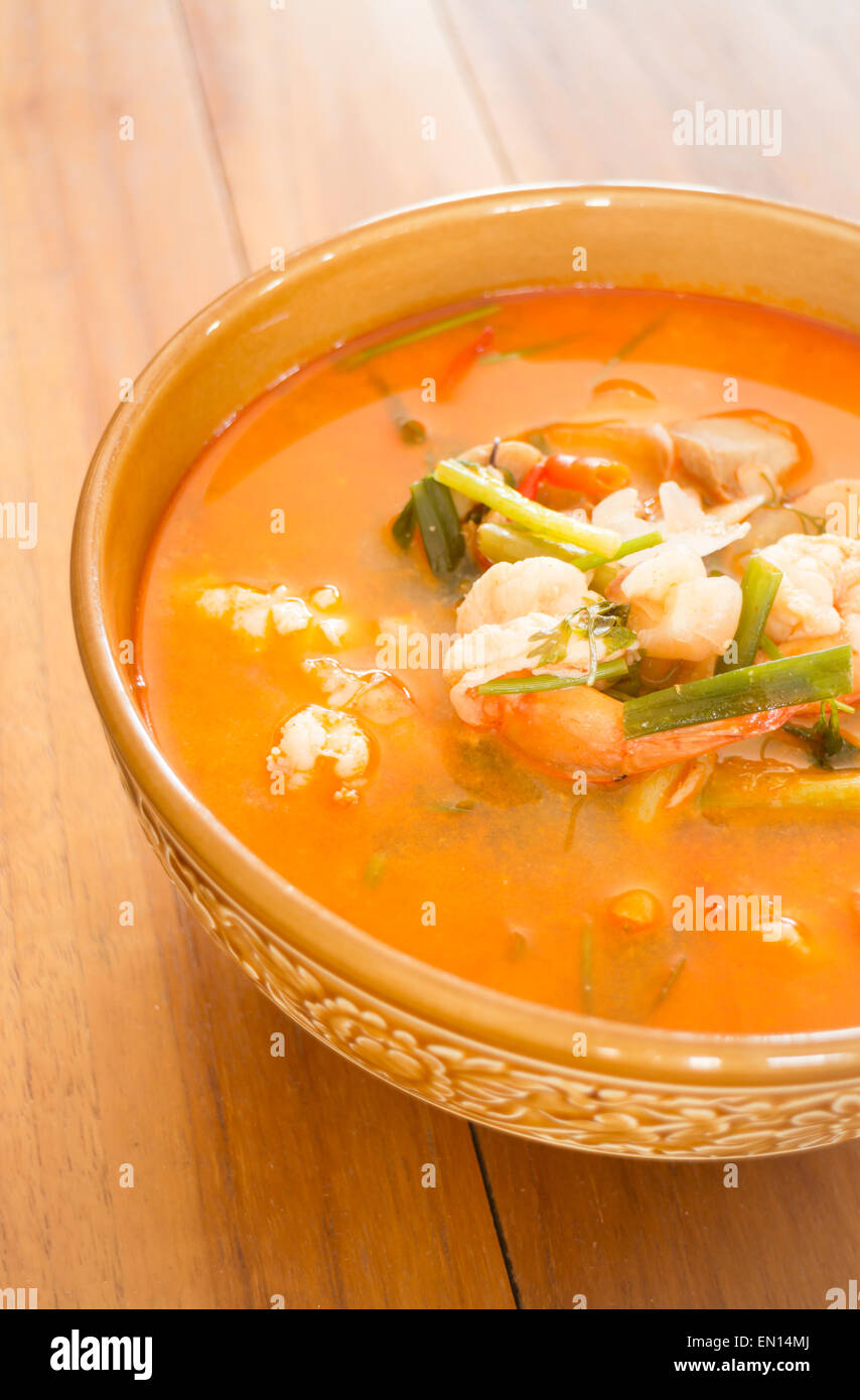 Tom yum kung thai spicy seafood soup stock photo royalty for Thai fish soup
