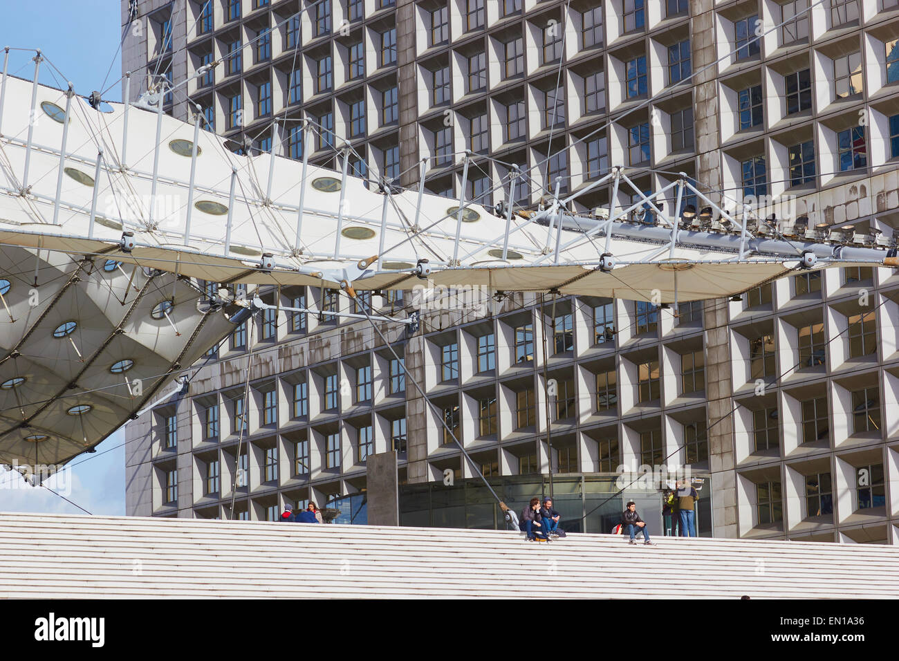 Canopy and steps of the Grande Arche La Defense business district Paris France Europe & Canopy and steps of the Grande Arche La Defense business district ...