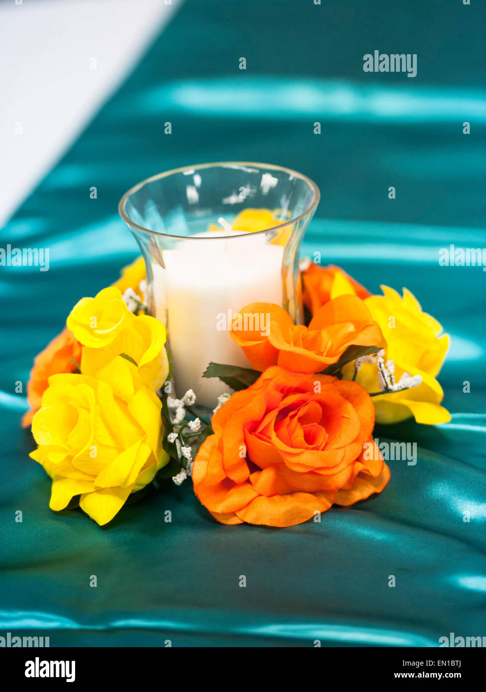 Wedding decorations blue with orange and yellow flowers stock wedding decorations blue with orange and yellow flowers junglespirit Images