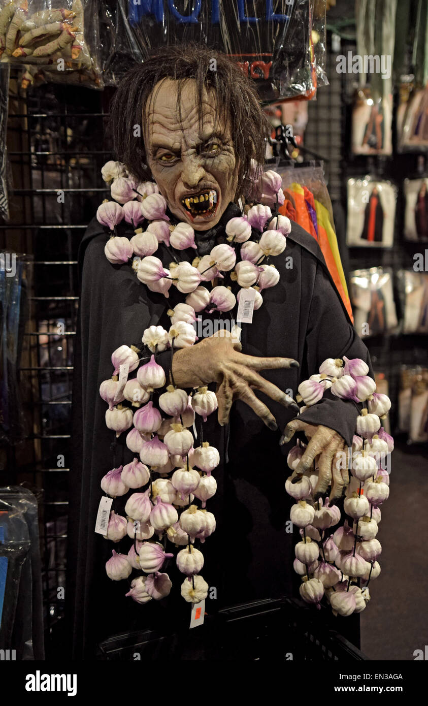 a scary mannequin wearing garlic for sale at a large costume store in greenwich village nyc called the halloween adventure - Halloween Adventure Store