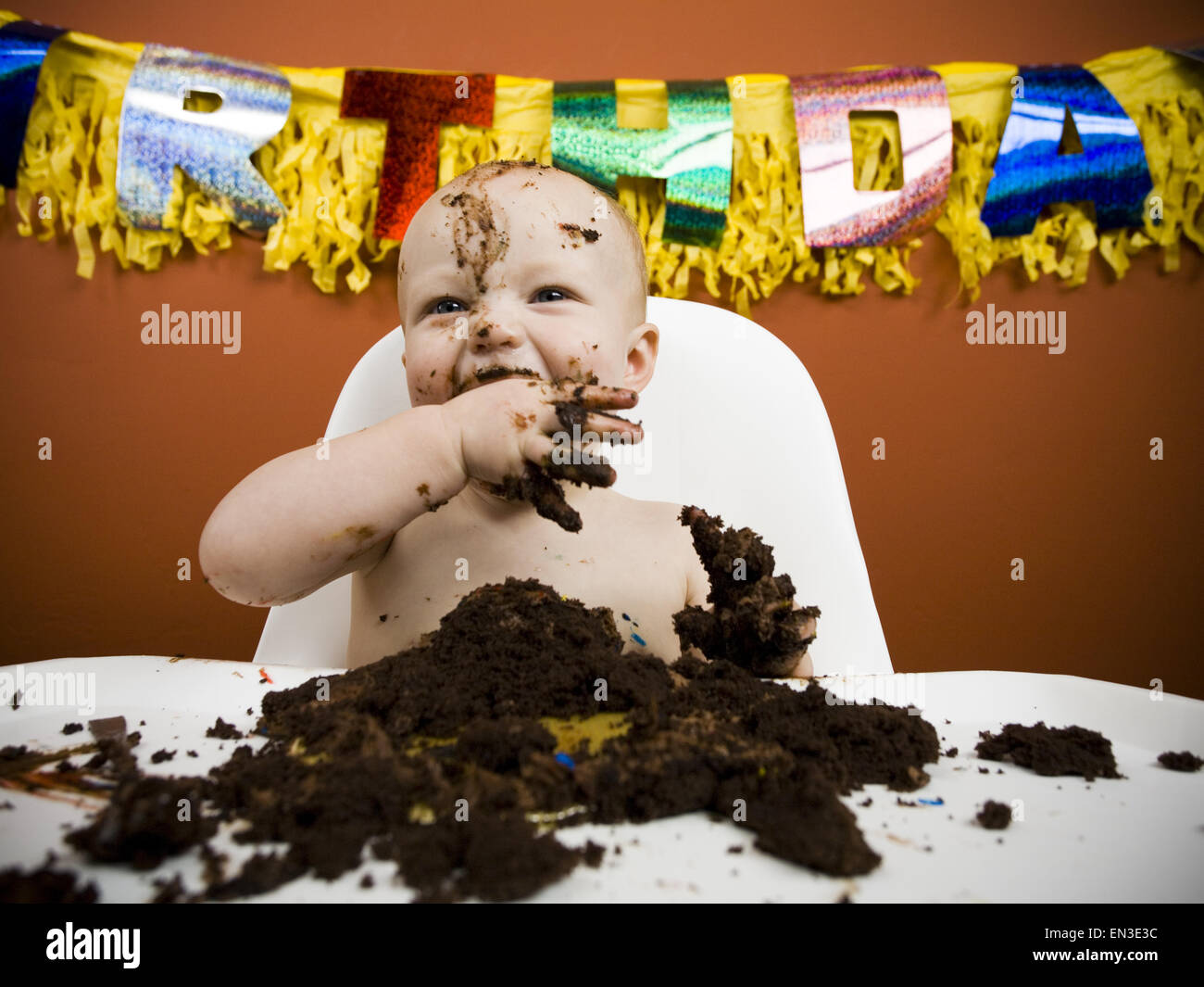 Baby eating birthday cake Stock Photo, Royalty Free Image: 81826176 ...