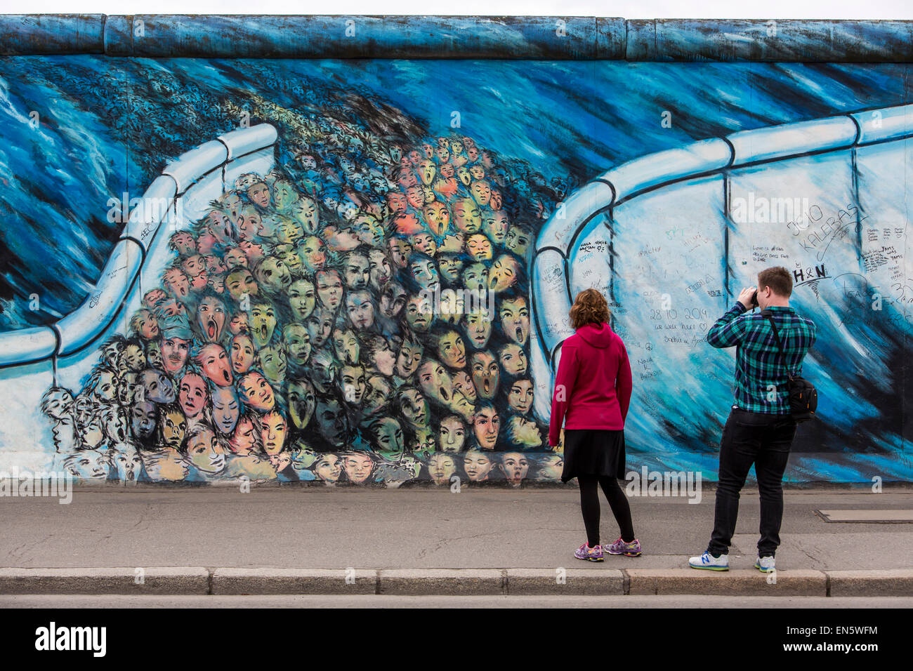 East Side Gallery, Par Of The Former Berlin Wall, Painted By Artists Form  All Around The World, Open Air Musuem, Berlin