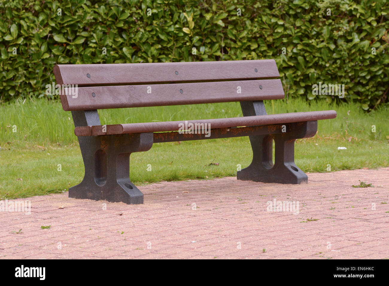 recycled plastic bench in public space stock photo, royalty free