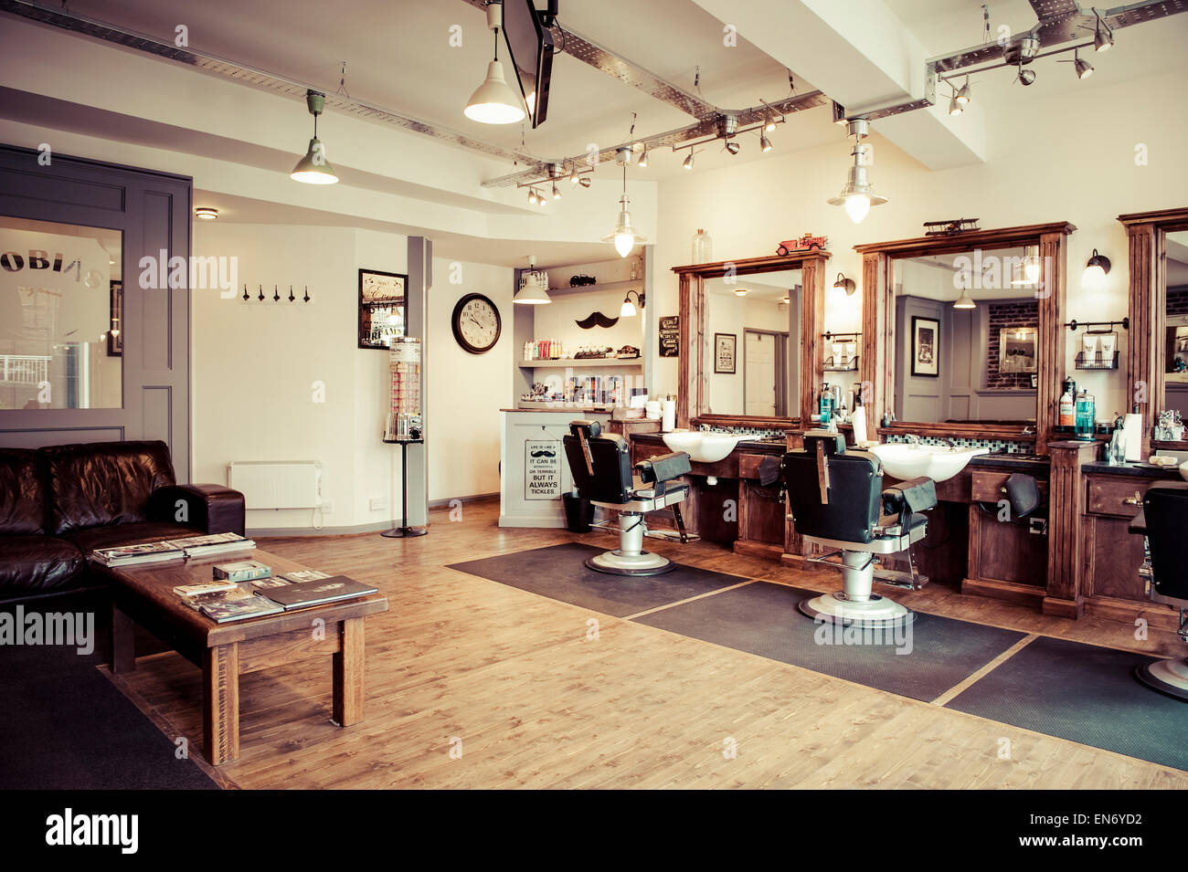 men's barber shop retro styled interior design stock photo  - men's barber shop retro styled interior design