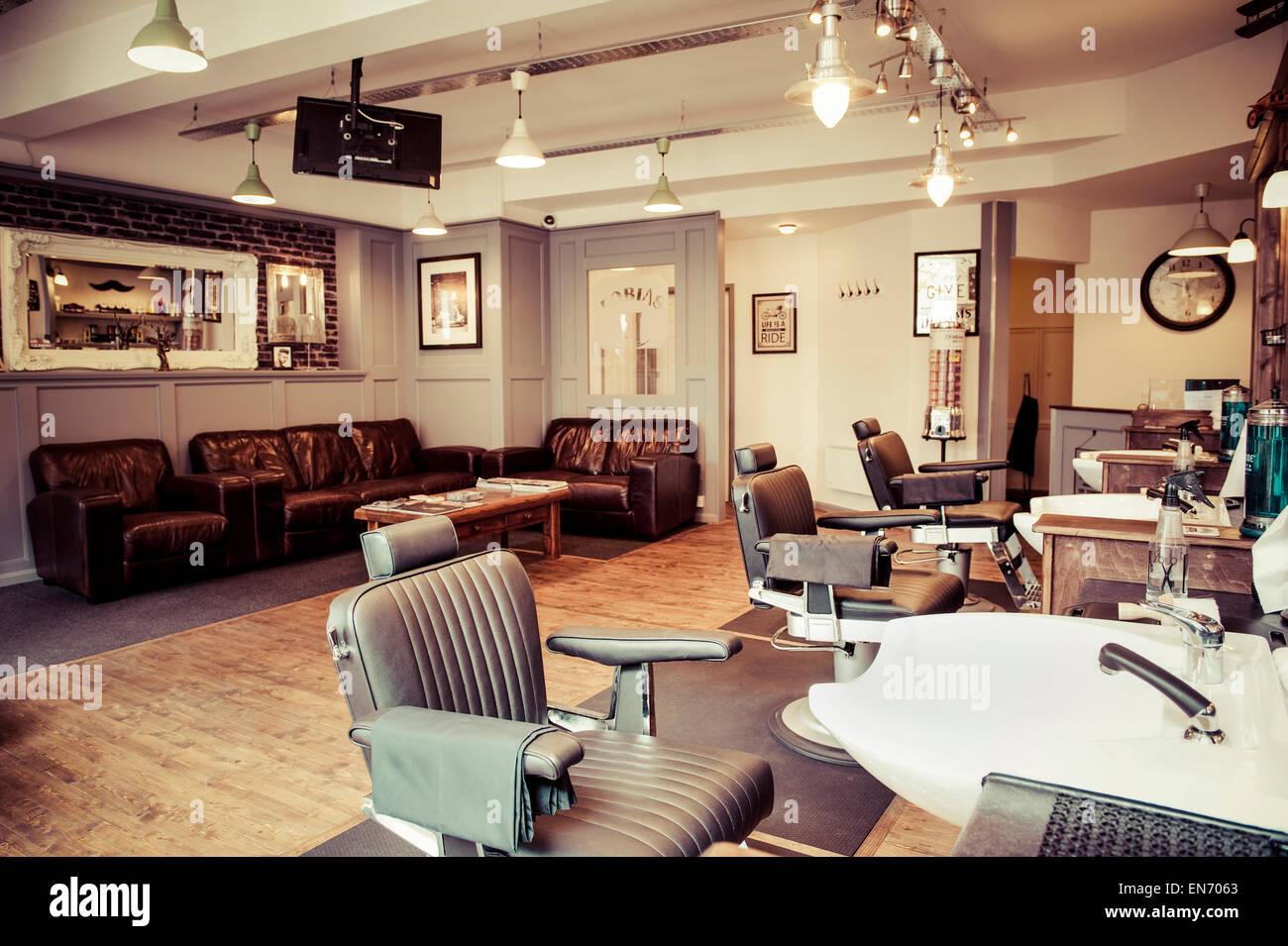 Men 39 s barber shop retro styled interior design stock photo royalty free image 81903083 alamy - Barber shop interior ...