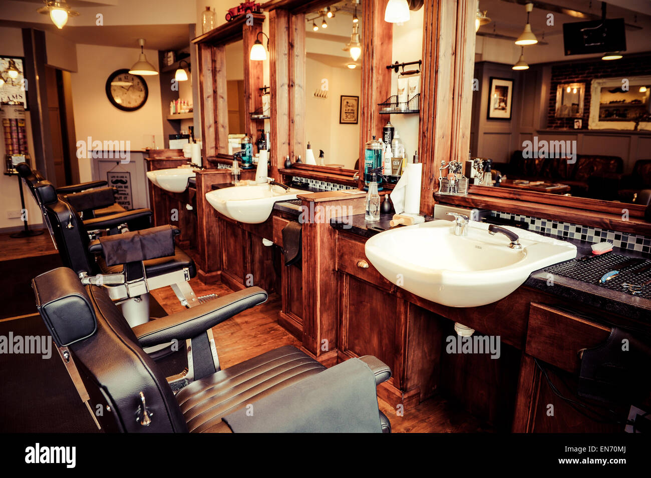 Men 39 s barber shop retro styled interior design stock photo royalty free image 81903490 alamy - Barber shop interior ...