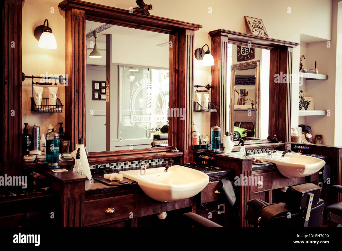 Men 39 s barber shop retro styled interior design stock photo royalty free image 81903556 alamy - Barber shop interior ...