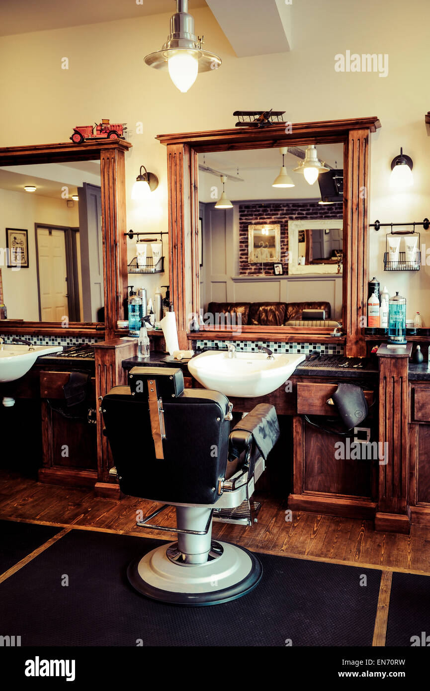 Retro Interior men's barber shop, retro styled interior design stock photo