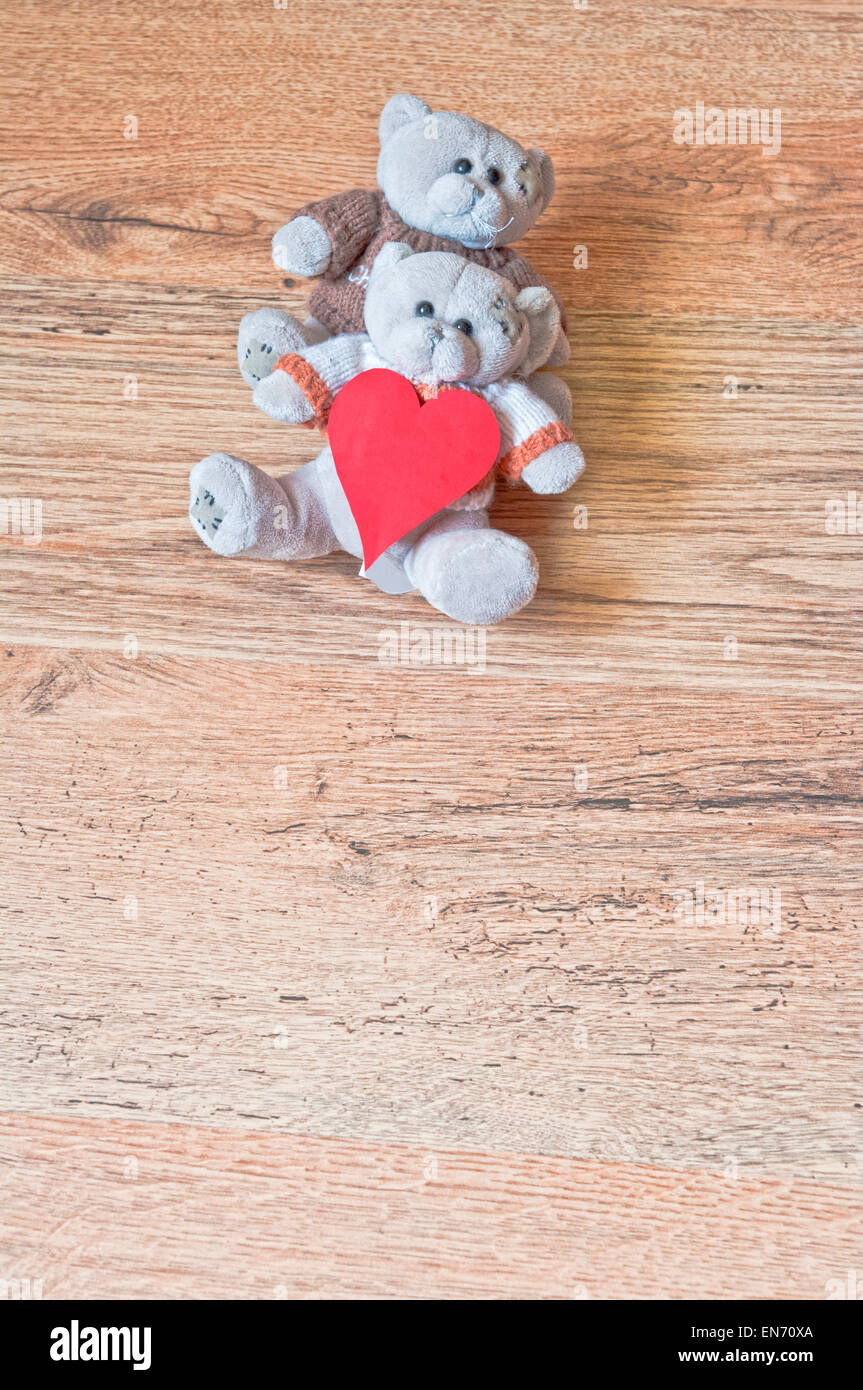 Teddy Love Day Valentines Bear Bears Valentine Cute Background Romantic  Brown Two Concept Vintage Friendship Couple Wooden Red